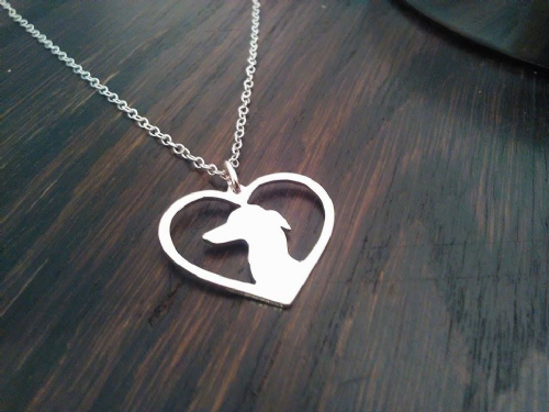 Italian Greyhound Heart pendant sterling silver handmade by saw piercing Caroline Howlett Design
